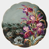 French Limoges Hand Painted Porcelain Plate, Charger, Lotus Flowers, Pink & Purple Iris, Gold Gilt Accents