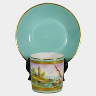French Le Tallec Cup & Saucer Hand Painted Porcelain Mint Gold Sea Coast Sail Boat Maritime Scene