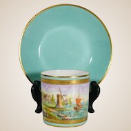 Le Tallec French Porcelain Cup & Saucer Mint & Gold Hand Painted Maritime Sail Boat & Windmill Coastal Sea Scene