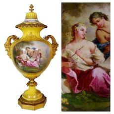 Antique French Sevres Style Porcelain Lidded Urn Satyr Figural Gilt Bronze Handles, Hand Painted Scene