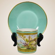 Le Tallec French Porcelain Cup & Saucer Mint & Gold Hand Painted Seaside Maritime Coastal Town Scene