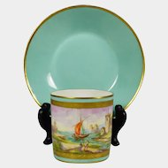 Le Tallec French Porcelain Cup & Saucer Mint & Gold Hand Painted Maritime Sail Boat Seaside Town Scene