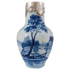 French Paul Milet Sevres Porcelain Vase Hallmarked Sterling Silver 950 Mounts
