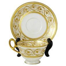 French Haviland Limoges Porcelain Gold Encrusted Raised Enamel Cup & Saucer
