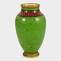 Art Deco Paul Milet French Sevres Porcelain Cabinet Vase, Green & Red, Bronze Mounts