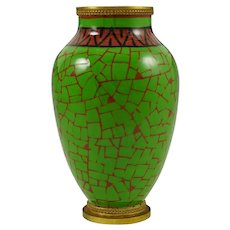 Art Deco Paul Milet French Sevres Porcelain Cabinet Vase, Green & Red Colors, Bronze Mounts