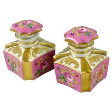 Pair Antique French Old Paris Porcelain Perfume Bottles, Scent, Hand Painted Flowers, Pink & Gold