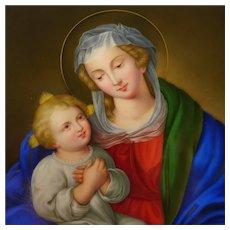 Antique German Porcelain Plaque Hand Painted Madonna & Child Religious Scene Miniature Portrait