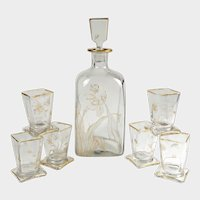 Antique French Glass Liquor Service, Aesthetic Style Gilded & Engraved Insects, Decanter & Cups Set