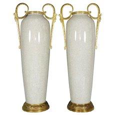 Pair Tall Art Deco French Ceramic & Bronze Vases, Crackle Glaze