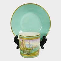 Le Tallec French Porcelain Cup & Saucer Mint & Gold Hand Painted Castle Coastal Sea Scene