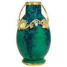 Antique French Sevres Paul Milet Ceramic Vase, Art Nouveau Gilt Bronze Ormolu, Flambe Glaze