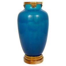 Large French Sevres Paul Milet Ceramic Vase, Blue Flambe Glaze, Bronze Mounts
