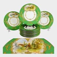 12 Antique French Limoges Porcelain Game Bird Plates, Ovington Brothers, Green & Raised Gold Enamel Encrusted