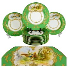 12 Antique French Limoges Porcelain Game Bird Plates, Ovington Brothers, Green & Raised Gold Enamel Encrusted