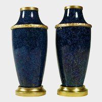 Boxed Pair Antique French Sevres Paul Milet Ceramic Vases Cobalt Blue Gilt Bronze Mounts