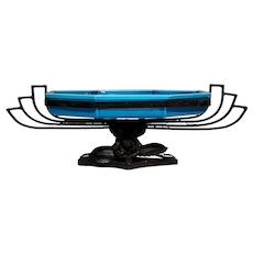 Large French Sevres Paul Milet Ceramic Blue Glazed Centerpiece Bowl Dish, Ornate Wrought Iron Stand