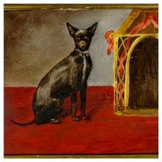 Miniature Pinscher Dog Painting, Hand Painted Porcelain Portrait Plaque