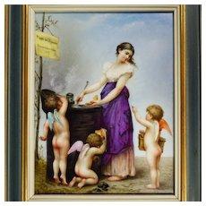 Antique French Porcelain Portrait Plaque Love's Menu: Maiden Lady with Cherubs Putti