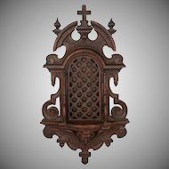 Antique 19thc Carved Wood Religious Altar Niche Wall Hanging, Lattice Door Front