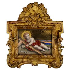 Signed Antique French Limoges Enamel on Copper Portrait Plaque, Baby Jesus, Carved Gilt Wood Frame, Religious Painting Scene