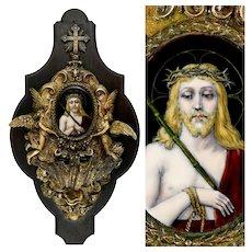 Antique French Bronze Holy Water Font, Limoges Enamel on Copper Miniature Portrait Plaque Painting of Jesus Christ