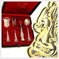 BOIVIN 4pc Antique French Sterling Silver Gilt Vermeil Hors d'Oeuvre Serving Set
