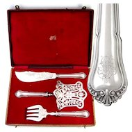 Napoleon III era French Sterling Silver 3pc Asparagus Server, Fish Knife & Fork Serving Set