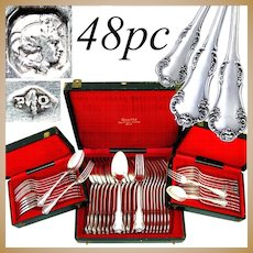 Antique French Sterling Silver 48pc Flatware Service by Pierre Queille, Hallmarked, 4pc setting for 12