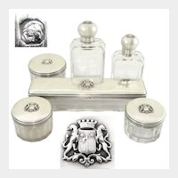6pc Antique French Sterling Silver & Cut Glass Armorial Coat of Arms Vanity Dressing Table Set, Perfume Bottles