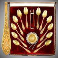 Antique French Sterling Silver 950 Gilt Vermeil Tea Service, Set of Spoons, in Box