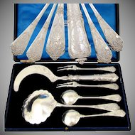 6pc Antique French Sterling Silver Ornate Dessert Berry / Ice Cream Serving Set by Granvigne