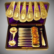 15pc Antique French .800 Silver Gilt Vermeil Tea / Coffee Set in Rare Burl Wood Inlaid Box - Spoons, Sugar Tongs, Tea Strainer