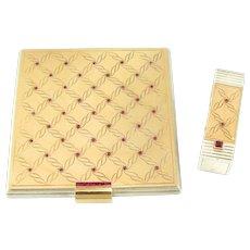 Espezel French 18K Gold & Silver Jeweled Rubies Powder Compact Mirror & Lipstick Holder Set