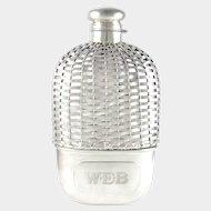 Antique Gorham Sterling Silver Basket Weave Whiskey Spirits Hip Flask