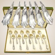 12 Antique French Sterling Silver Dessert or Coffee Spoons