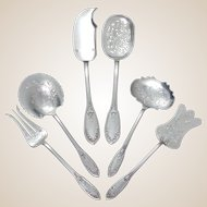 6pc Antique French Sterling Silver Hors d'Oeuvre Serving Set, Butterflies & Flowers