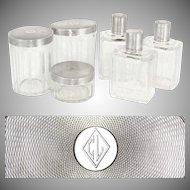 6pc French Sterling Silver Cut Crystal Perfume Bottle & Powder Jars / Box Vanity Dresser Set