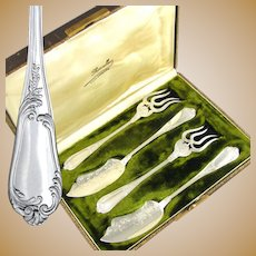 Boxed 4pc Antique French Sterling Silver Hors d'Oeuvre Serving Set by Henri Soufflot