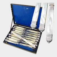 Set of 18 Antique French Sterling Silver Louis Philippe era Mother of Pearl Knives
