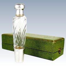 Antique French Sterling Silver Gilt Vermeil Cut Crystal Opera / Travel Liquor Flask, Original Box