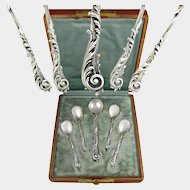 5pc Ornate Antique French Sterling Silver Condiment Set, Salt Spoons & Mustard Spoon, in Box