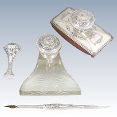 4pc Italian Silver Desk / Writing Set by Fratelli Cacchione, Argento Milano: Inkwell, Wax Seal, Blotter, Calligraphy Dip Pen