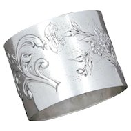 Antique French Sterling Silver Ornate Repousse Napkin Ring, Henri Soufflot