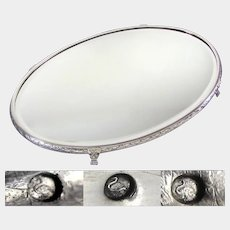 Large Antique French Silver Hallmarked Mirror Plateau Centerpiece, Lion Feet