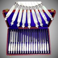 18pc Antique French Silver & Mother of Pearl Handled Knife Set, Knives