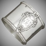 Antique French Sterling Silver Napkin Ring, Applied Medallion Cartouche & Florals
