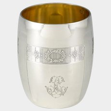 """Early 1900s French .800 Silver Gold Vermeil Cup, Tumbler or """"Timbale"""""""