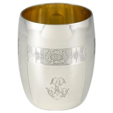 """French .800 (nearly sterling) Silver Cup, Tumbler or """"Timbale"""", Guilloche Engraving Flowers, Gilt Vermeil Interior"""