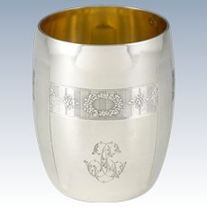 "Early 1900s French .800 Silver Gold Vermeil Cup, Tumbler or ""Timbale"""